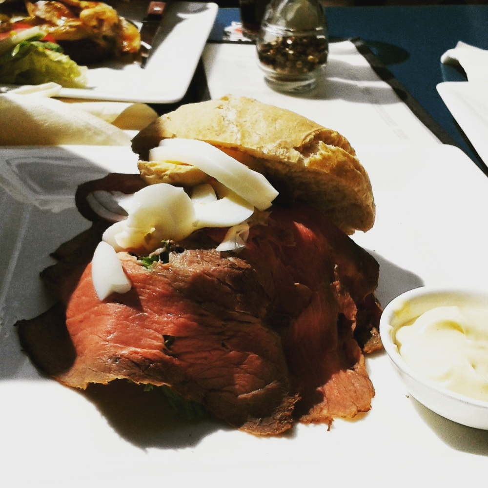 Roastbeef sandwich with eggs, onions, capers and garlic mayonnaise at Parkcafé Buiten, Utrecht.